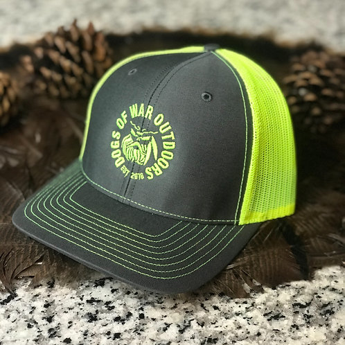 Richardson Trucker Cap - Charcoal & Neon Yellow