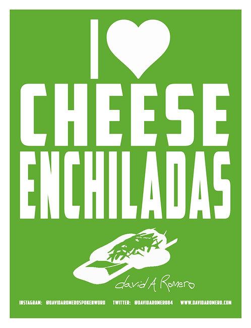 """I <3 Cheese Enchiladas"" sticker green"