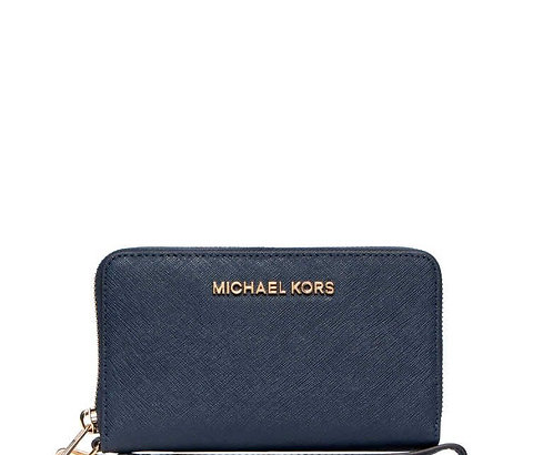 Michael Kors Jet Set Travel Flat Mf Phn Case Wristlet Navy