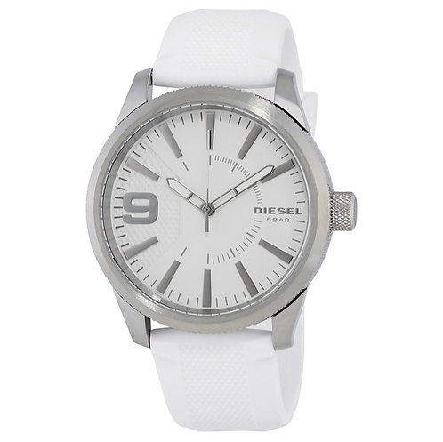 Diesel Rasp White Dial Men's Rubber Watch