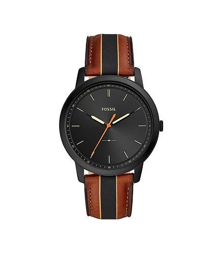 Minimalist Three-Hand Striped Luggage Leather Watch