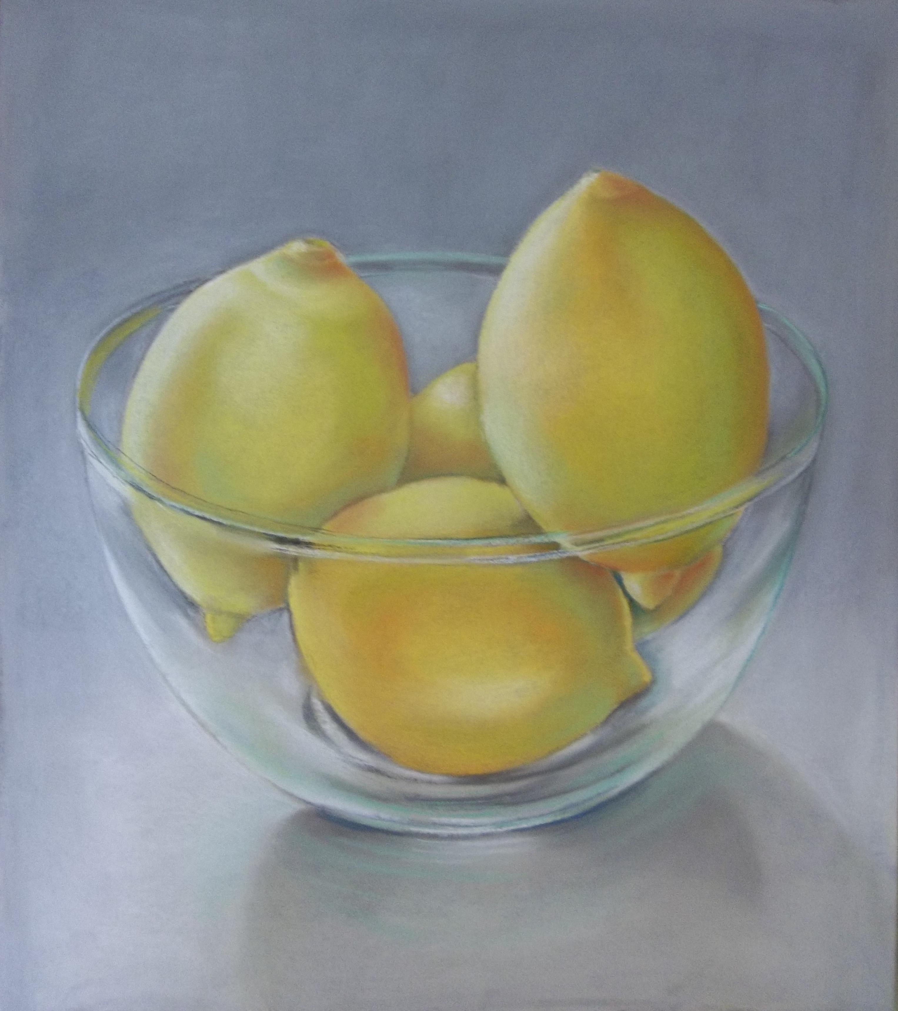 Lemons in Glass Bowl