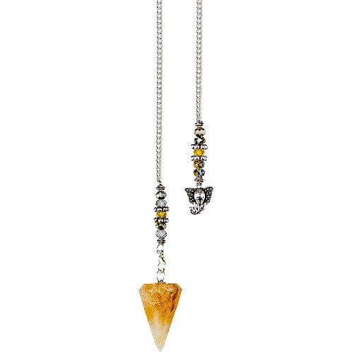 Hexagonal Pendulum - Citrine - Ganesha