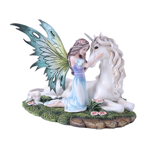 Fairy With Unicorn Statue