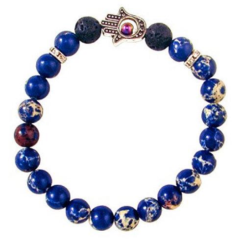 Hamsa Bracelet - Blue Imperial Jasper