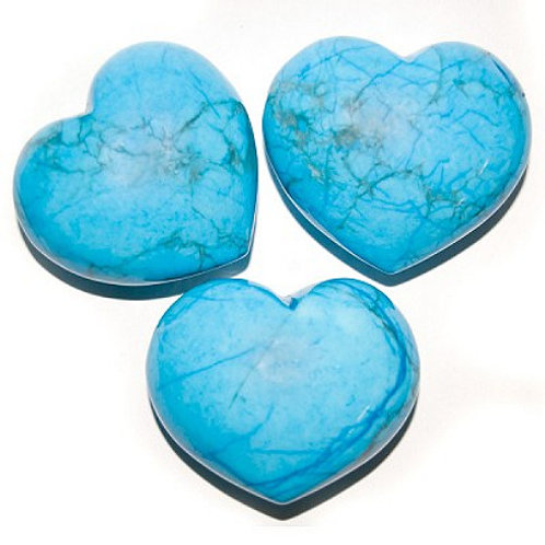 Puffy Heart Stones - Turquoise Howlite