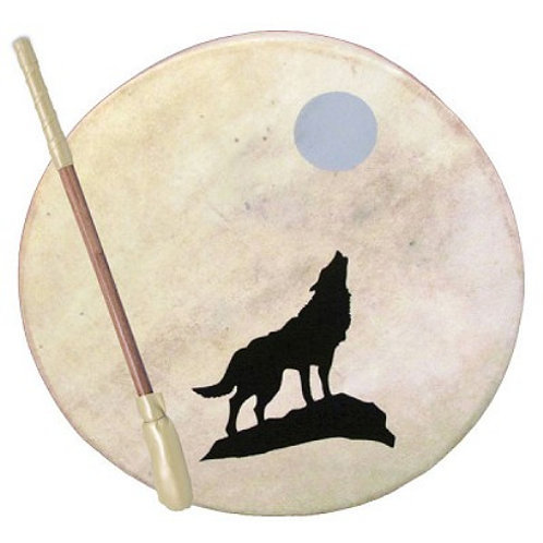 Tribal Frame Drum - Wolf and Moon  Tribal Frame Drum - Wolf and Moon