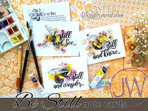 """""""Bee Still"""" Note Cards ~ Set of 12"""