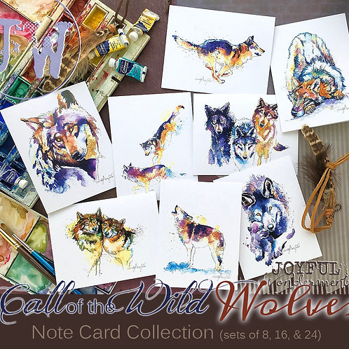 Wild Wolves ~ Note Card Set of 8 or 12