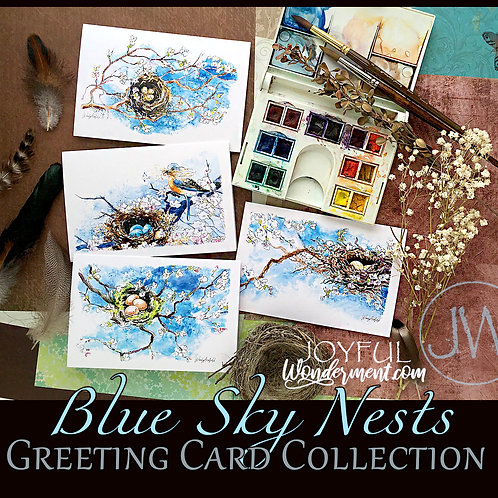 Blue Sky Nests ~ Greeting Card Collection of 8, 12, 16