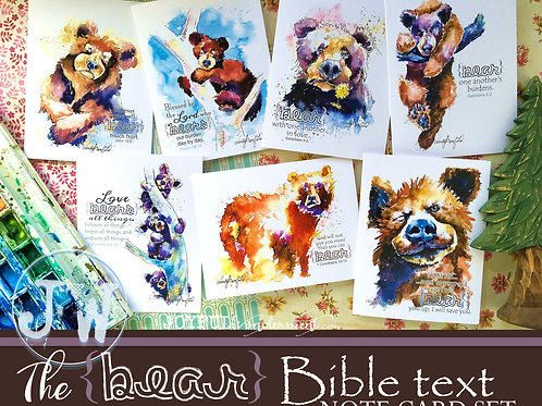 Bear Bible Text Note Card Set of 7