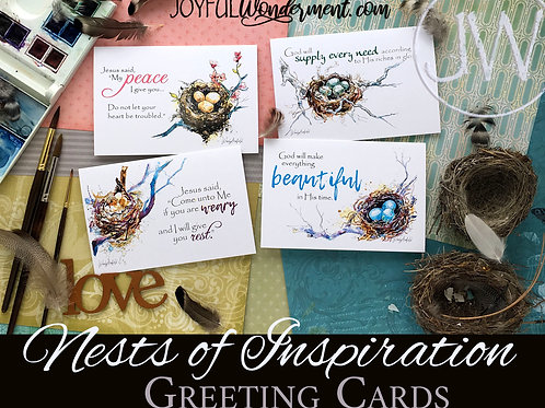 Nests of Inspiration ~ Greeting Card Sets of 8, 12, 16