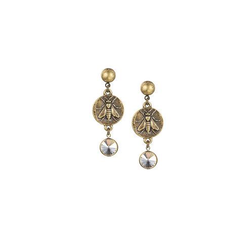 Mini Abeille Medallion French Kande Earrings