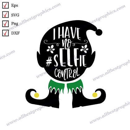 I Have No Selfie Control | Funny Quotes Christmas Template Hand-Lettering Png