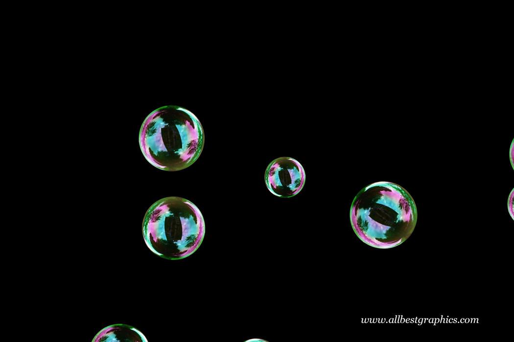 Beautiful bathroom soap bubbles on black background | Bubble Photo Overlay