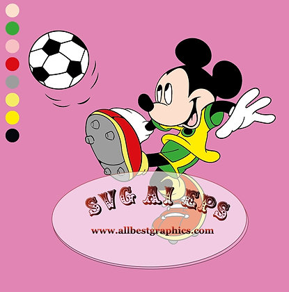 Mickey Mouse Svg Sport Clipart | Soccer | Disney Characters Clip Art