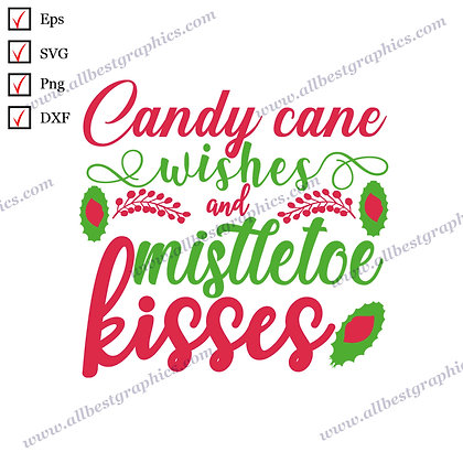 Candy Cane Wishes | Cool Quotes Vector Clipart Christmas Template SVG Png Eps