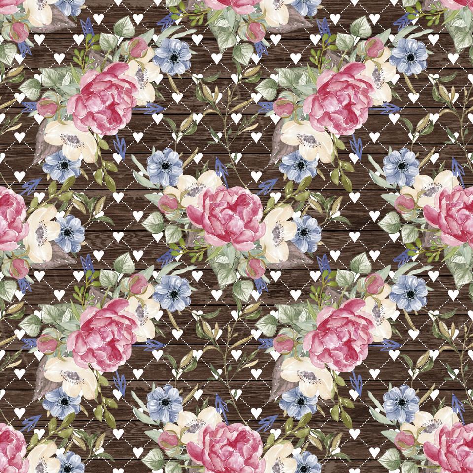 Royal watercolor digital paper with pastel flowers | Invitation Digital Paper