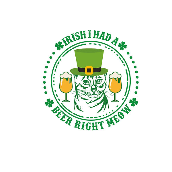 Irish I Had A Beer Right Meow Png   Free download Printable Cool Quotes T- Shirt Design in Png