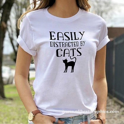 Easily Distracted By Cats | Cool Quotes & Signs about Pets in Eps Svg Png Dxf