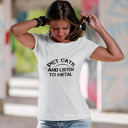 Pet cats and listen to metal_2 | Cool T-Shirt Quotes Cut files in Svg Dxf Eps