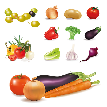 Great healthy fruits & vegetables digital set png format  - Food clipart free download 2400x2400 png