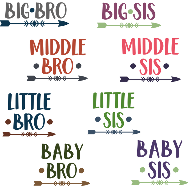 Big middle little baby bro sis png | Nice Iron on Transfer Funny Quotes T- Shirt Design