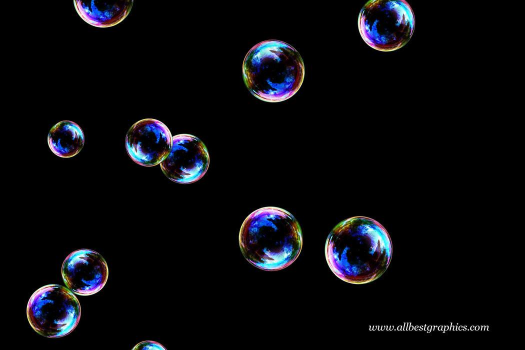 Wonderful rainbow soap bubbles on black background   Bubble Photoshop overlays