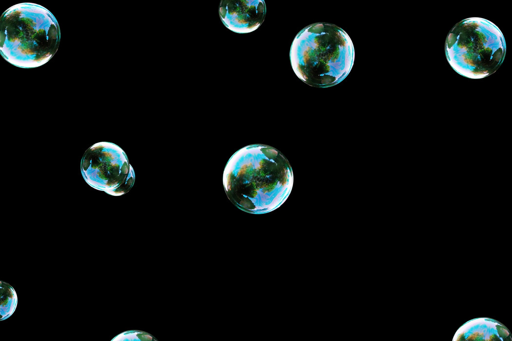 Superb colorful soap bubbles on black background   Overlays for Photoshop