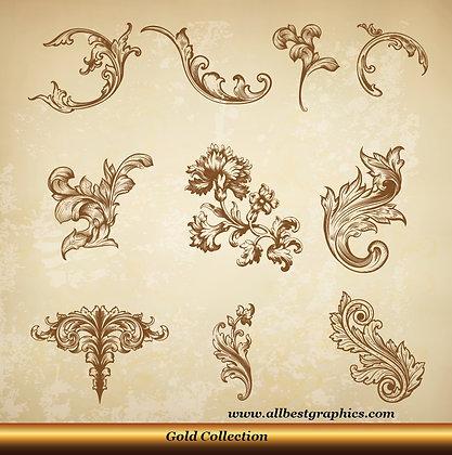 Acanthus leaves | Retro decorative elements vector clipart_90326.006