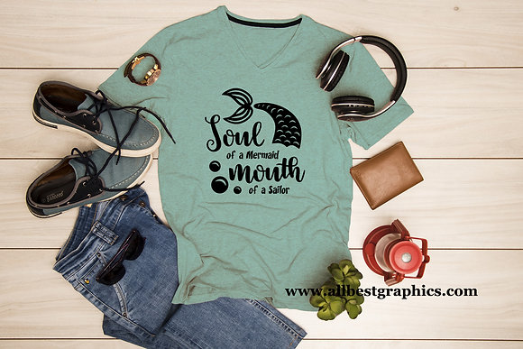 Soul of a mermaid mouth of a sailor | T-Shirt design | Funny Quotes