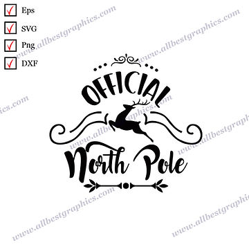 Official North Pole | Funny Quotes Vector Clipart Christmas Template Png Eps Dxf