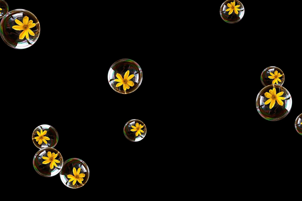 Stunning air soap bubbles on black background | Overlays for Photoshop