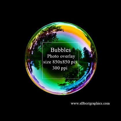 Simple Soap bubble on black background (viridian sky)