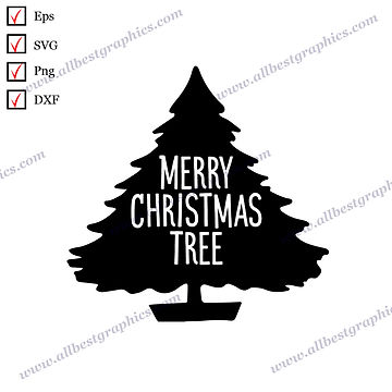Merry Christmas Tree   Best Cool Sayings Christmas Template Vector Clipart