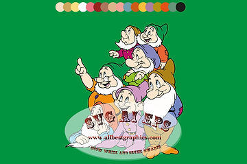 Snow White & Seven Dwarfs Disney Characters vector clipart