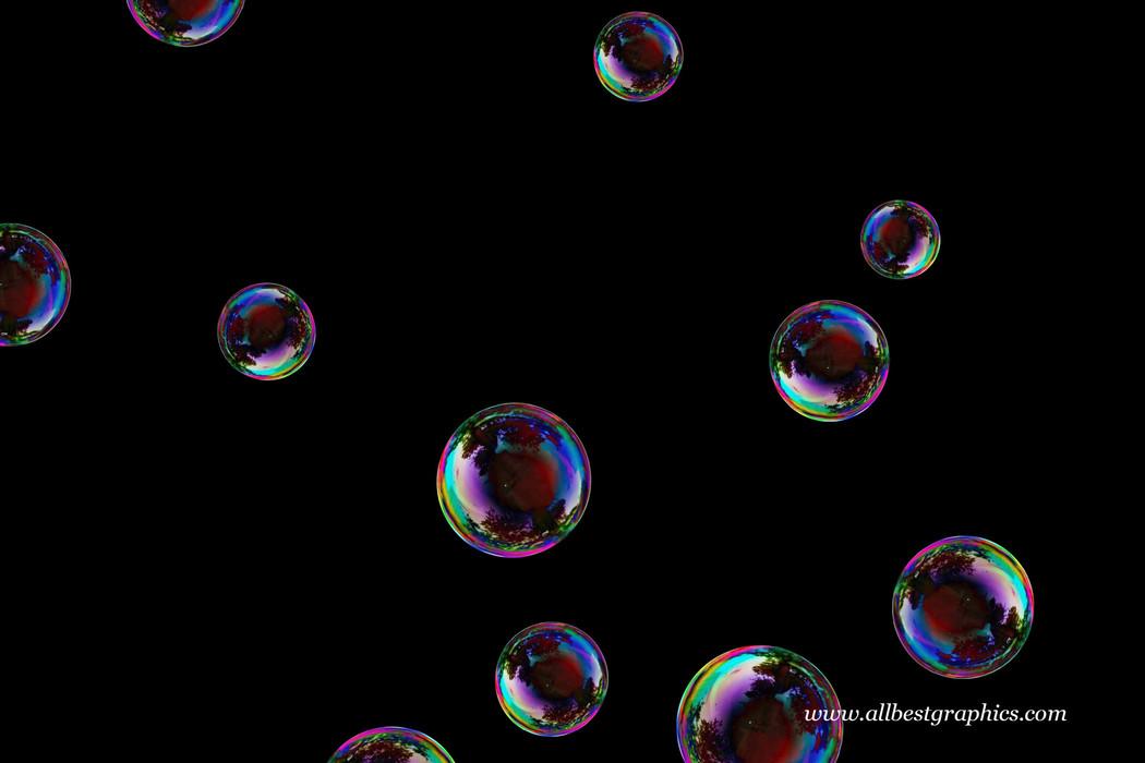 Fantastic colorful soap bubbles on black background | Bubble Photoshop overlays