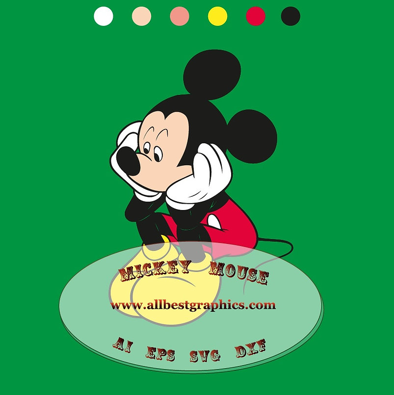 Mickey Mouse Ai Dxf Png Svg Eps clip art | Disney cartoons cut files Silhouette
