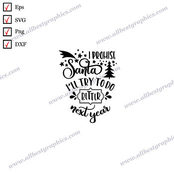 I Promise Santa I'll Try to Do | Cool Quotes Instant Download Christmas Decor Ep