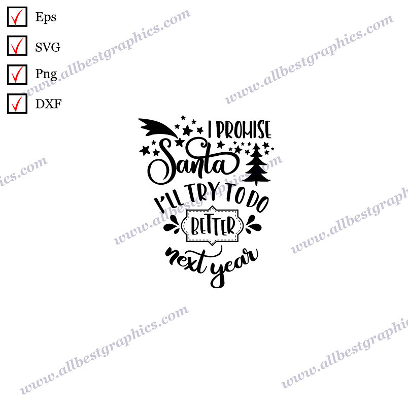 I Promise Santa I'll Try to Do   Cool Quotes Instant Download Christmas Decor Ep