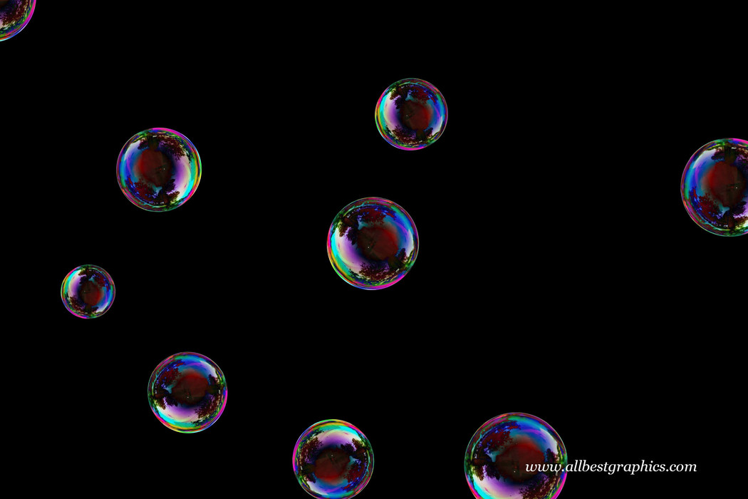 Wondrous realistic soap bubbles on black background | Bubble Photoshop Overlay