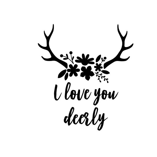 I love you deerly Png | Free download Iron on Transfer Cool Quotes T- Shirt Design in Png