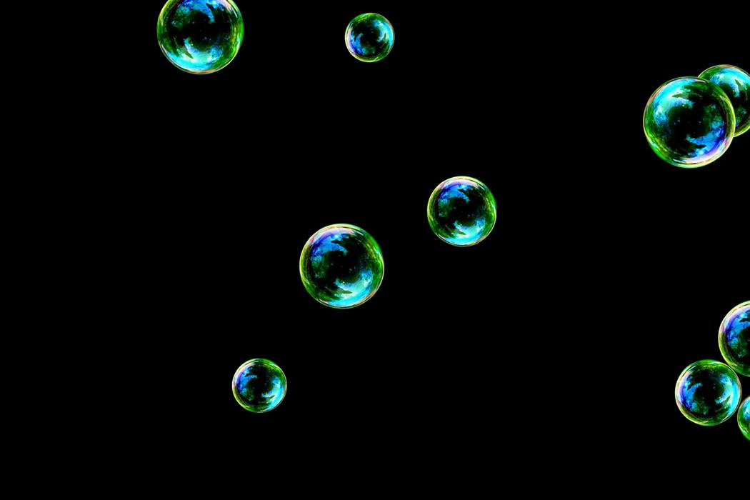 Superb rainbow soap bubbles on black background | Photoshop Overlay