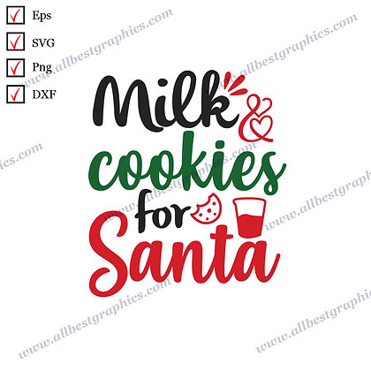 Milk and Cookies for Santa | Funny Quotes Vector Graphics Christmas Template Cut