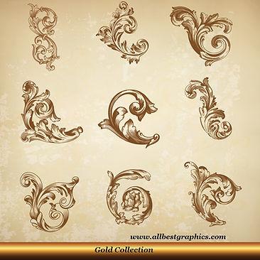 Acanthus leaves vector set | Decorative elements for Home decor - Ai Eps Svg