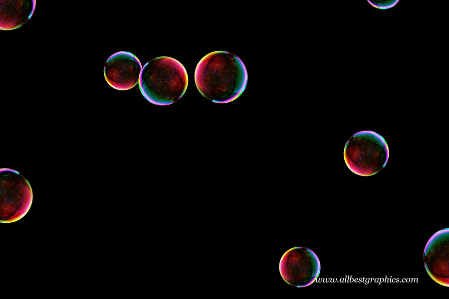 Glorious colorful soap bubbles on black background | Bubble Photo Overlays
