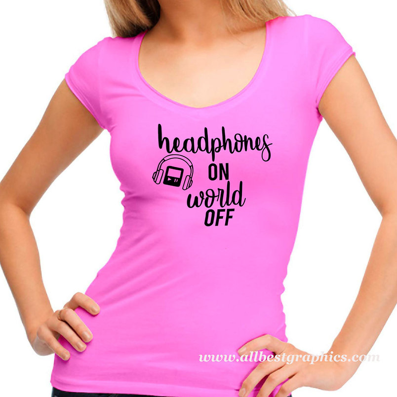 Headphones on world off | Funny T-shirt Quotes for Cricut and Silhouette Cameo