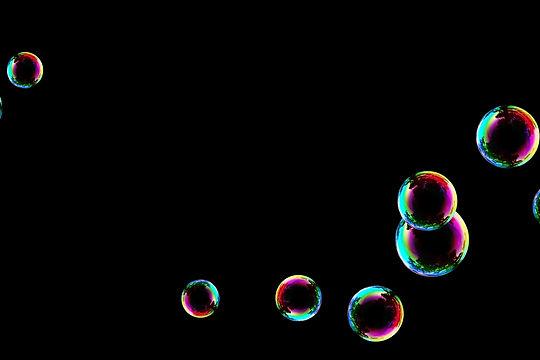 Awesome rainbow soap bubbles on black background   Photo Overlays