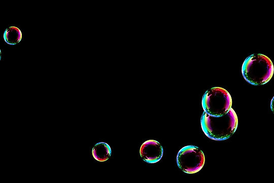 Awesome rainbow soap bubbles on black background | Photo Overlays