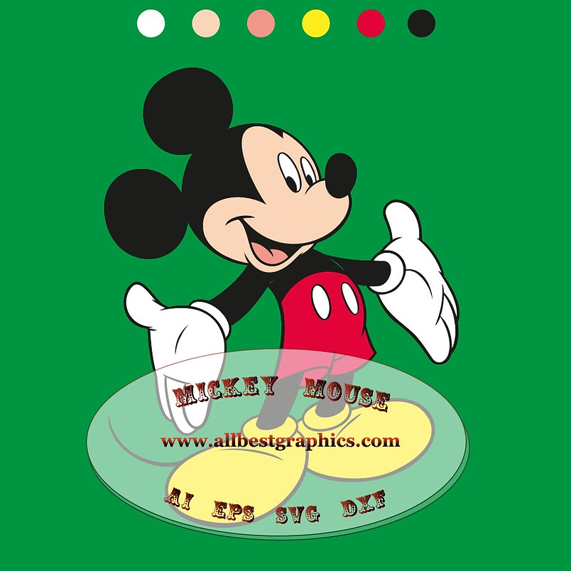 Mickey Mouse Eps Svg Ai Png Dxf clipart   Disney characters cut files for Cricut